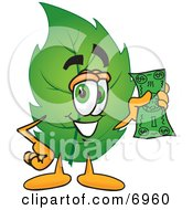 Clipart Picture Of A Leaf Mascot Cartoon Character Holding A Dollar Bill by Toons4Biz