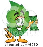 Leaf Mascot Cartoon Character Holding A Dollar Bill
