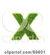 Grassy 3d Green Symbol Letter X