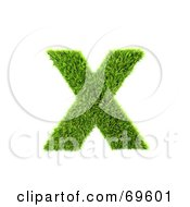 Royalty Free RF Clipart Illustration Of A Grassy 3d Green Symbol Letter X by chrisroll