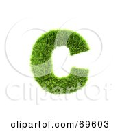 Royalty Free RF Clipart Illustration Of A Grassy 3d Green Symbol Letter C