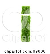 Royalty Free RF Clipart Illustration Of A Grassy 3d Green Symbol Letter I