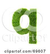 Royalty Free RF Clipart Illustration Of A Grassy 3d Green Symbol Letter Q