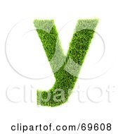 Royalty Free RF Clipart Illustration Of A Grassy 3d Green Symbol Letter Y