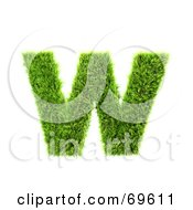 Grassy 3d Green Symbol Letter W