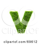 Royalty Free RF Clipart Illustration Of A Grassy 3d Green Symbol Letter V