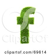 Royalty Free RF Clipart Illustration Of A Grassy 3d Green Symbol Letter F