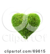 Royalty Free RF Clipart Illustration Of A Grassy 3d Green Symbol Heart by chrisroll