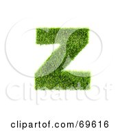 Royalty Free RF Clipart Illustration Of A Grassy 3d Green Symbol Letter Z