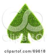 Grassy 3d Green Symbol Spade