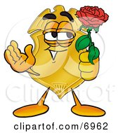 Clipart Picture Of A Badge Mascot Cartoon Character Holding A Red Rose On Valentines Day by Toons4Biz