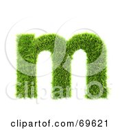 Royalty Free RF Clipart Illustration Of A Grassy 3d Green Symbol Letter M