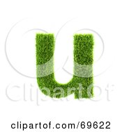 Royalty Free RF Clipart Illustration Of A Grassy 3d Green Symbol Letter U