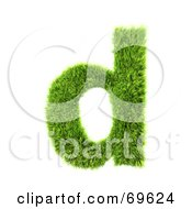 Royalty Free RF Clipart Illustration Of A Grassy 3d Green Symbol Letter D