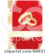Royalty Free RF Clipart Illustration Of A Red And Gold Wedding Background With Gold Rings And Vines by MilsiArt