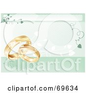 Green Wedding Background With Golden Rings And Vines
