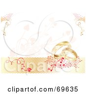 Royalty Free RF Clipart Illustration Of A Wedding Background With Vines And Gold Rings by MilsiArt