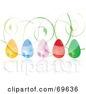 Royalty Free RF Clipart Illustration Of A Row Of Colorful Floral Easter Eggs With Green Vine Tendrils by MilsiArt