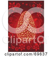 Royalty Free RF Clipart Illustration Of A Gold And Red Mosaic Easter Egg On Red With Flowers by MilsiArt