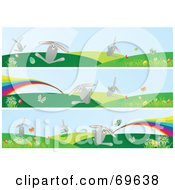 Royalty Free RF Clipart Illustration Of A Digital Collage Of Three Easter Bunny And Rainbow Banners by MilsiArt