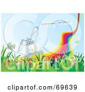 Royalty Free RF Clipart Illustration Of A Gray Bunny By A Rainbow With A Happy Easter Greeting by MilsiArt
