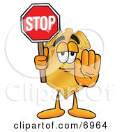 Clipart Picture Of A Badge Mascot Cartoon Character Holding A Stop Sign by Toons4Biz