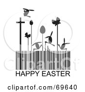 Black And White Happy Easter Barcode With Eggs Crosses And Bunnies