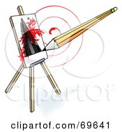 Royalty Free RF Clipart Illustration Of A Pencil Drawing A Skyscraper On An Easel Over A Red Swirl by MilsiArt