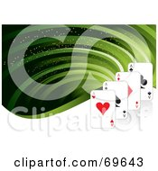 Royalty Free RF Clipart Illustration Of A Green Flow Background With Playing Cards by MilsiArt