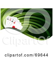 Royalty Free RF Clipart Illustration Of A Green Flow Background With Four Ace Playing Cards And A White Wave