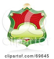 Royalty Free RF Clipart Illustration Of A Blank Green Shield Label With A Red Swirl by MilsiArt