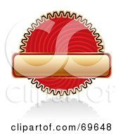 Royalty Free RF Clipart Illustration Of A Blank Golden Banner Over A Red Swirl Cog by MilsiArt