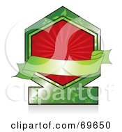 Royalty Free RF Clipart Illustration Of A Blank Green Banner Over A Green Label With A Red Burst by MilsiArt