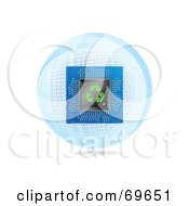 Royalty Free RF Clipart Illustration Of A Computer Chip Over A Blue Binary Globe On White