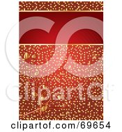 Sparkling Red And Gold Floral Mosaic Background With A Text Box by MilsiArt