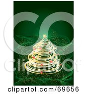 Golden Spiraled Christmas Tree On A Wavy Green Sparkling Background by MilsiArt