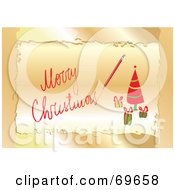 Royalty Free RF Clipart Illustration Of A Golden And Red Merry Christmas Greeting With A Tree by MilsiArt