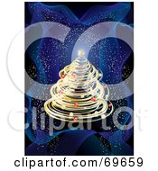 Royalty Free RF Clipart Illustration Of A Golden Spiraled Christmas Tree On A Wavy Blue Sparkling Background by MilsiArt