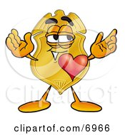 Clipart Picture Of A Badge Mascot Cartoon Character With His Heart Beating Out Of His Chest by Toons4Biz