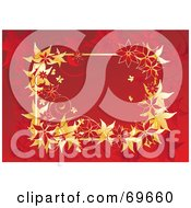 Royalty Free RF Clipart Illustration Of A Text Box Bordered With Gold And Red Poinsettias On Red by MilsiArt