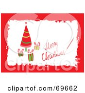 Royalty Free RF Clipart Illustration Of A Red Merry Christmas Greeting With A Tree And Gifts by MilsiArt