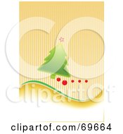 Green Christmas Tree With Baubles On A Striped Orange Background by MilsiArt