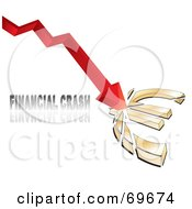 Royalty Free RF Clipart Illustration Of A Red Arrow Crashing Into And Breaking A Euro Symbol With Financial Crash Text by MilsiArt