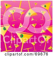Royalty Free RF Clipart Illustration Of A Background Of Martini Glasses On Pink by MilsiArt