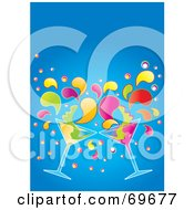 Royalty Free RF Clipart Illustration Of Two Colorful Martinis Splashing Over Blue by MilsiArt