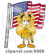 Clipart Picture Of A Badge Mascot Cartoon Character Pledging Allegiance To An American Flag by Toons4Biz