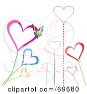 Royalty Free RF Clipart Illustration Of Growing Heart Flowers With A Butterfly On White