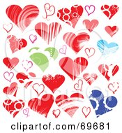 Royalty Free RF Clipart Illustration Of A Digital Collage Of Blue Red And Green Heart Designs