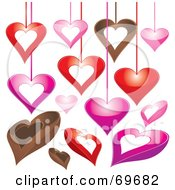 Royalty Free RF Clipart Illustration Of A Digital Collage Of Hanging And Chocolate Heart Designs