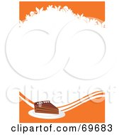 Royalty Free RF Clipart Illustration Of A Slice Of Pumpkin Pie With Orange Bars And Leaf Shapes Around White Space by MilsiArt